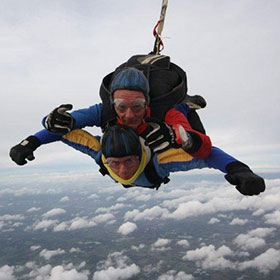 Glenn skydiving from 13,000 feet