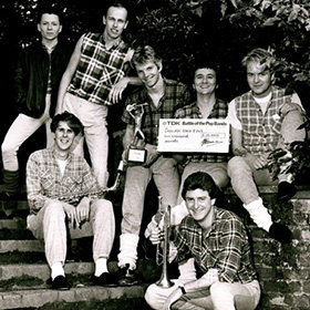 The Sugar Ray Five with the £10,000 cheque and trophy - winners of the BBC Battle of The Bands 1983